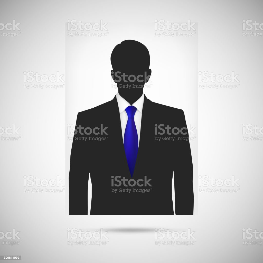 Profile picture whith blue tie. Unknown person silhouette vector art illustration