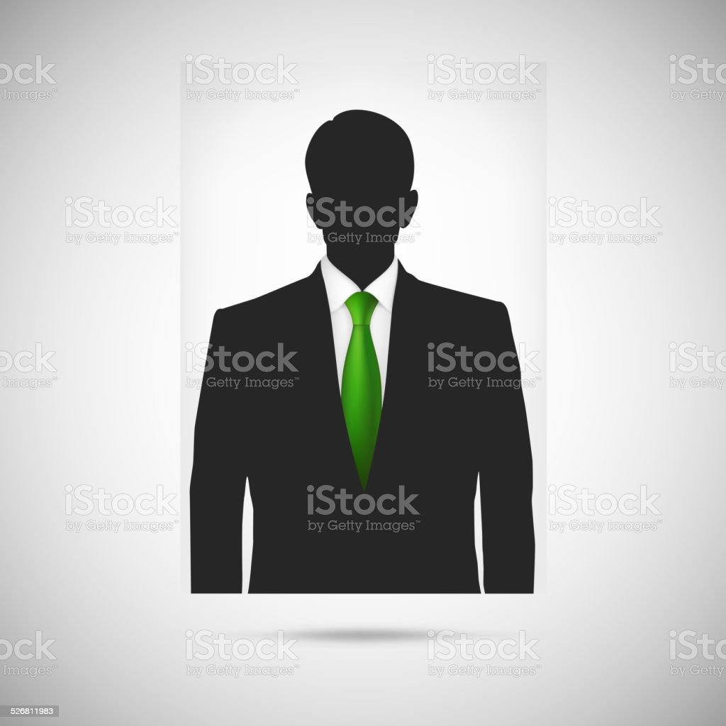 Profile picture whith green tie. Unknown person silhouette vector art illustration
