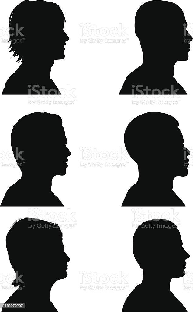 Profile Silhouettes - Men vector art illustration