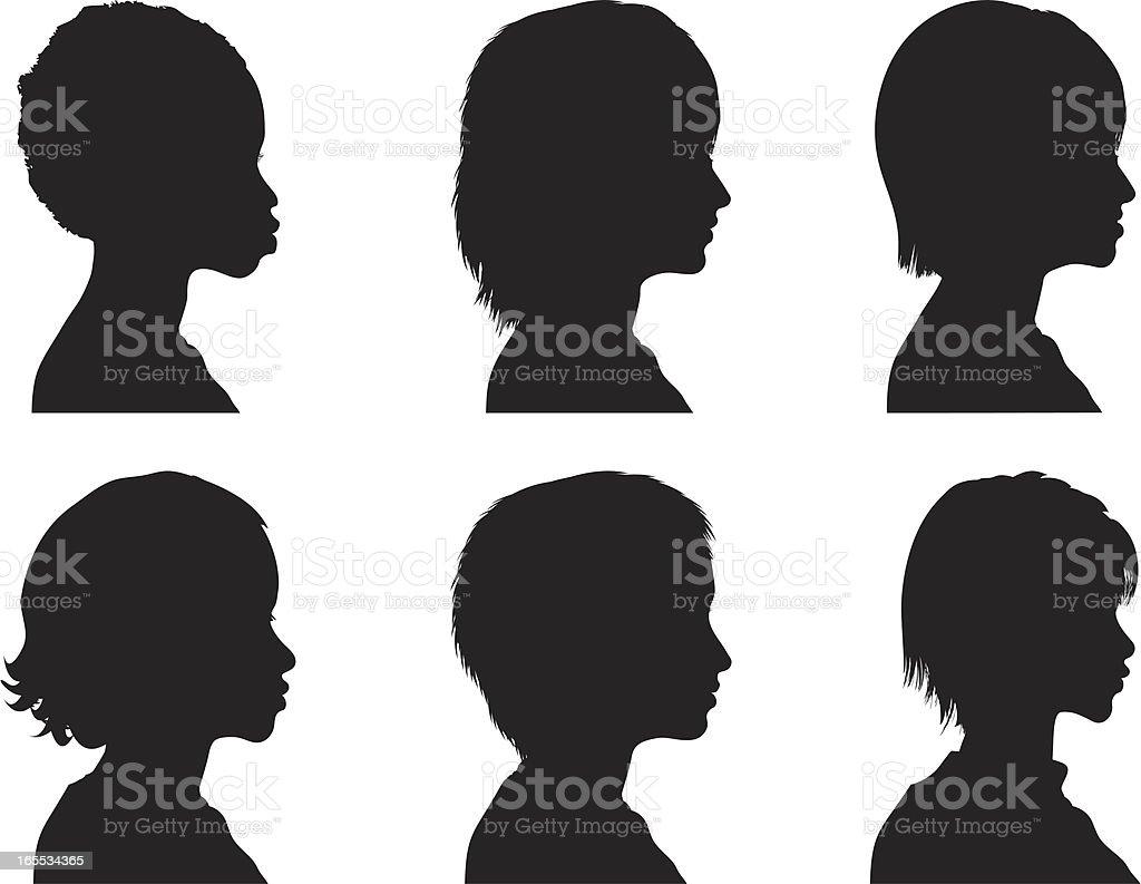 Profile Silhouettes - Women vector art illustration