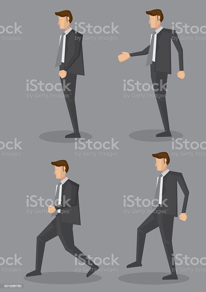 Profile View of Businessman in Black Corporate Suit Vector Illus vector art illustration