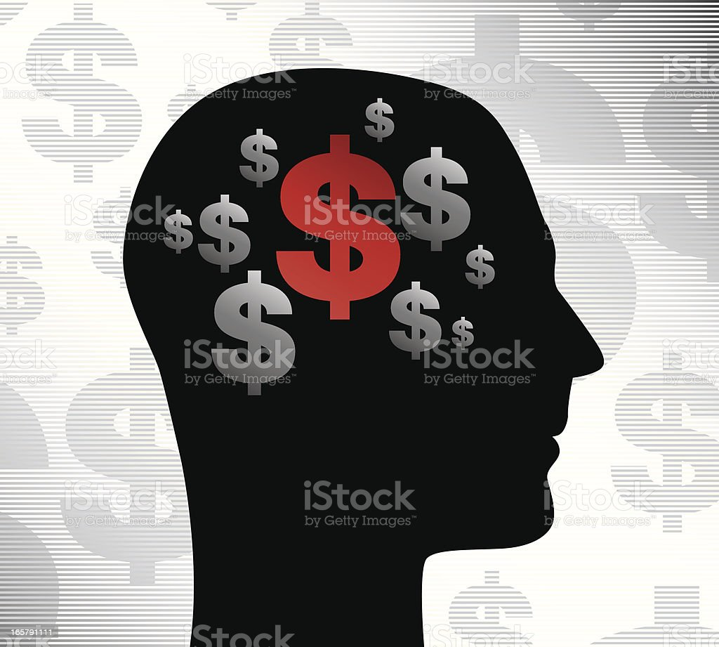 Profile with money on his mind royalty-free stock vector art