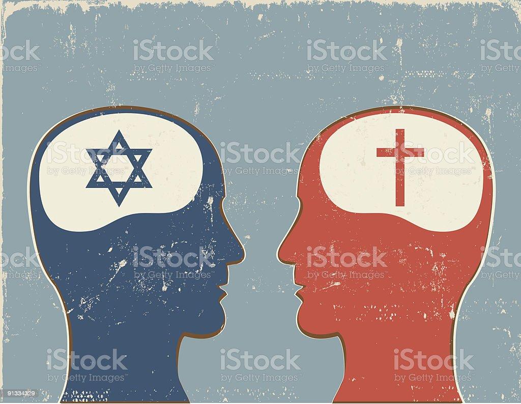 Profiles with Christian and Jewish symbols vector art illustration