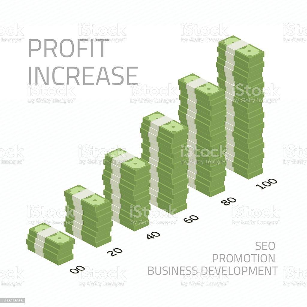 Profit increase illustration money vector art illustration