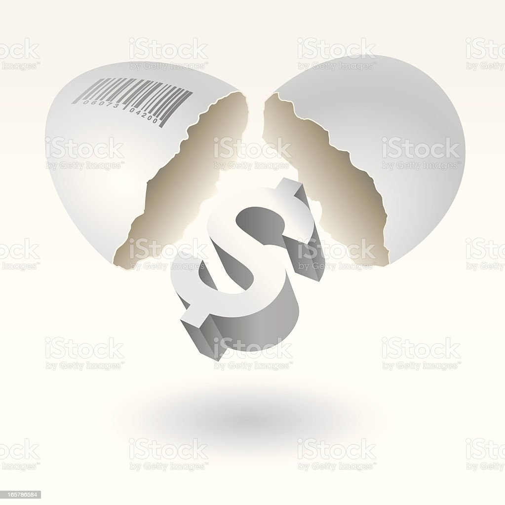 Profit Investment Concept. Dollar drops out of cracked egg royalty-free stock vector art