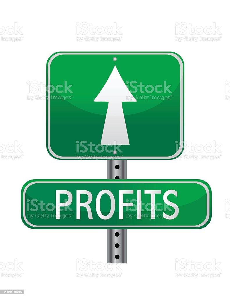 Profits concept street sign vector art illustration