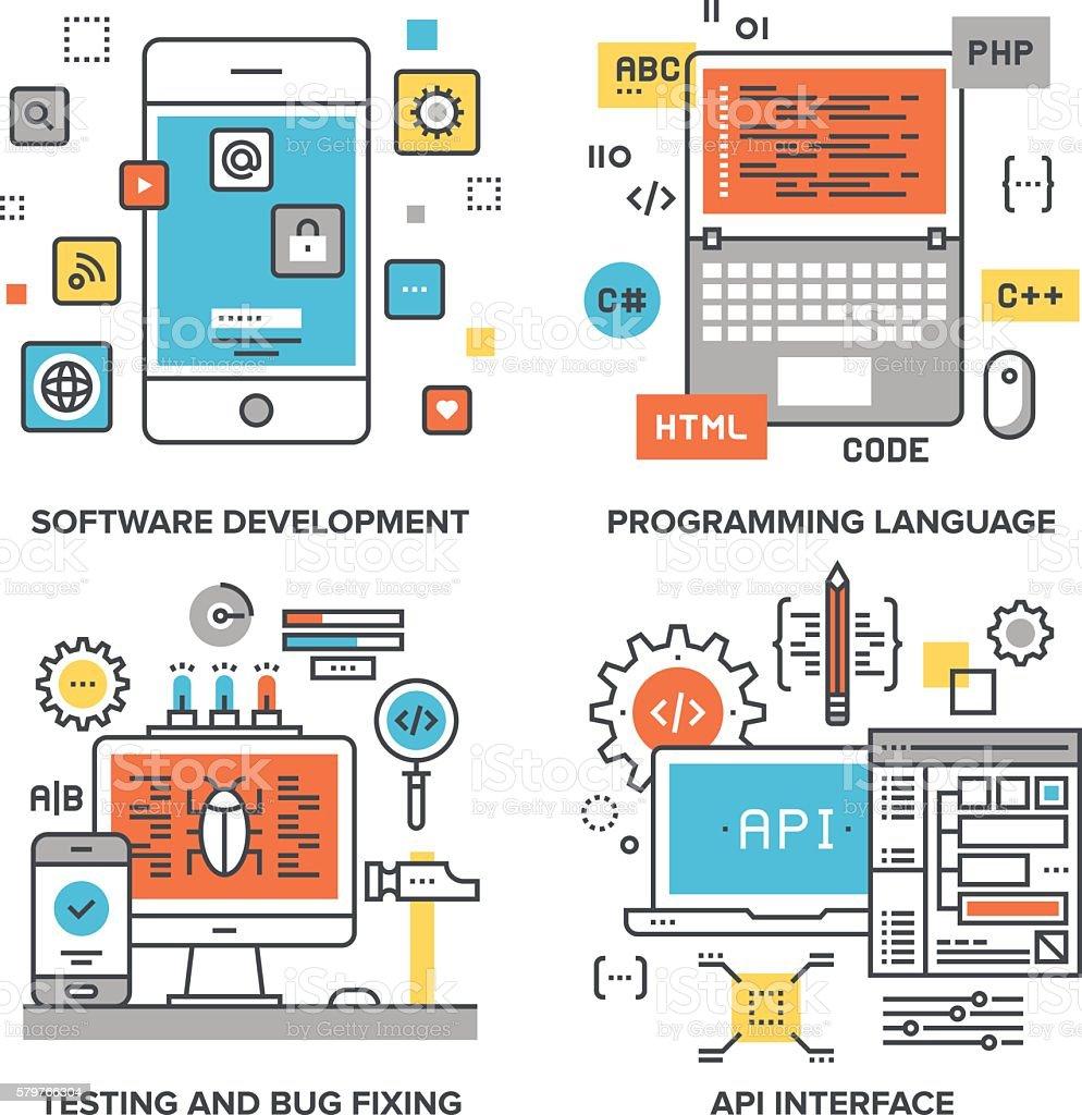 Program Coding Concepts vector art illustration