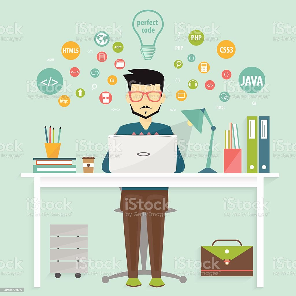 programmer and process coding, programming concept vector art illustration