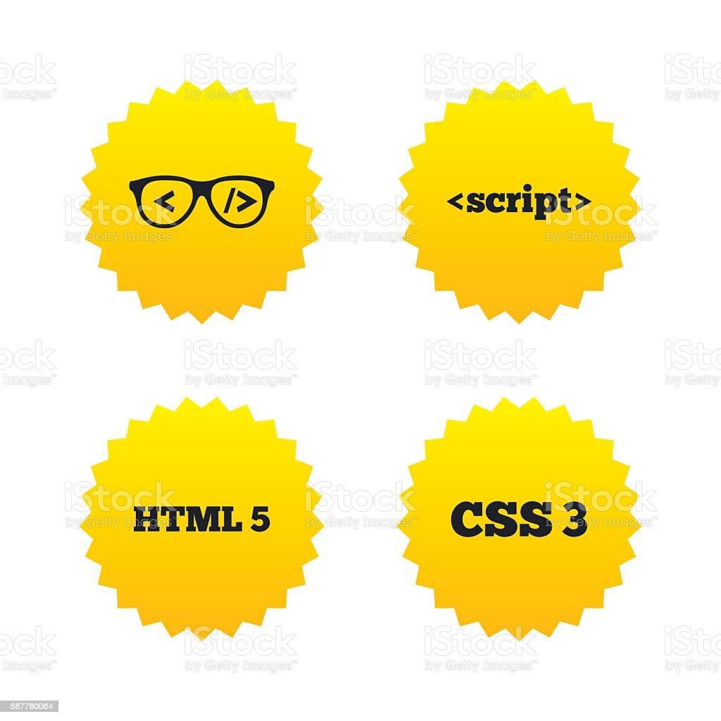 Programmer coder glasses. HTML markup language. vector art illustration