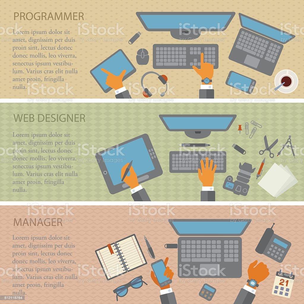 Programmer, Web designer, Manager - Desks vector art illustration