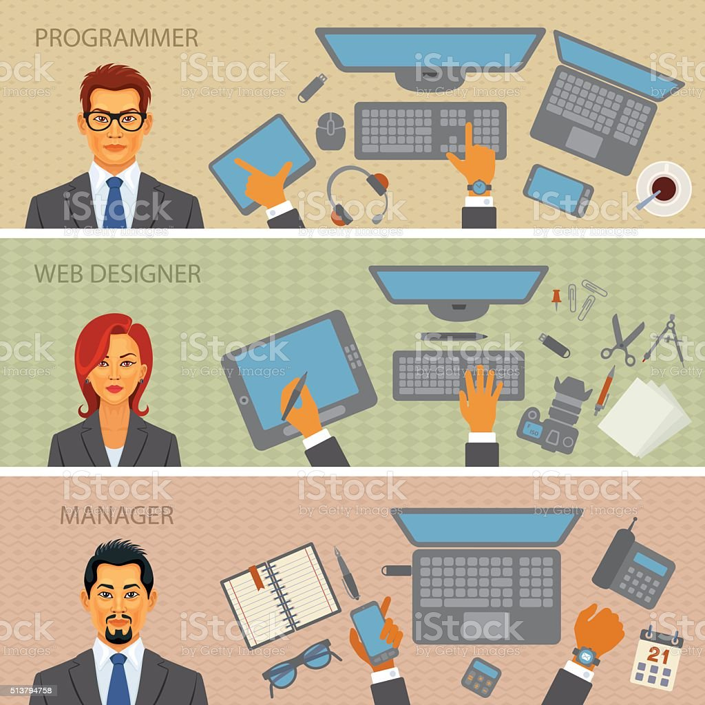 Programmer, Web designer, Manager - Desks vector art illustration