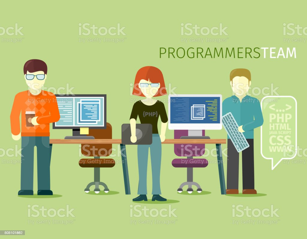 Programmers Team People Group Flat Style vector art illustration