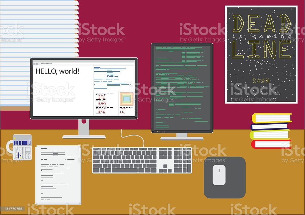 Programmer's workplace vector art illustration