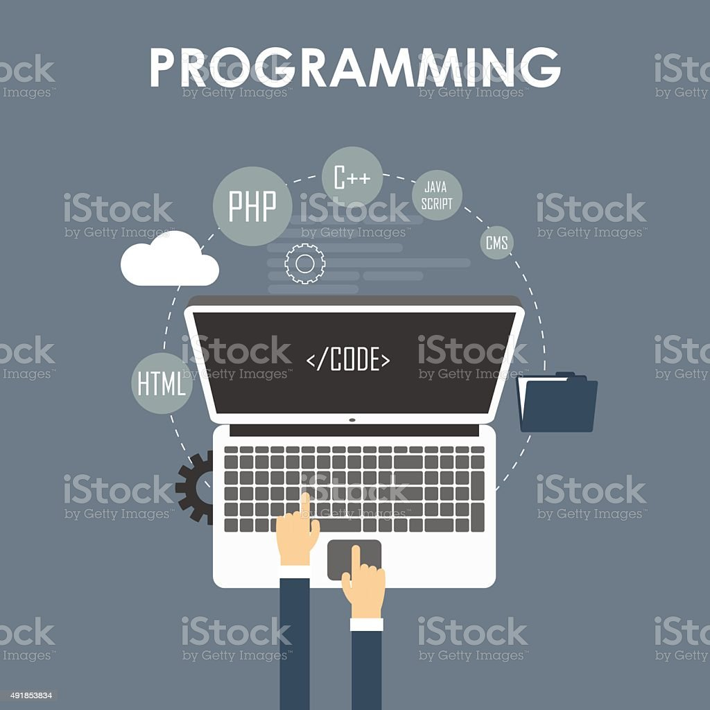 Programming and coding vector art illustration
