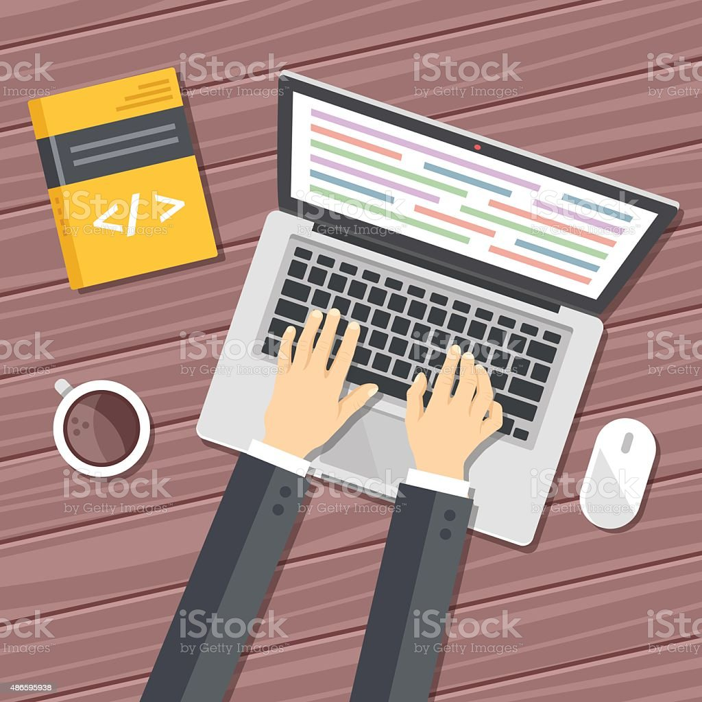 Programming flat illustration concept. Top view vector art illustration
