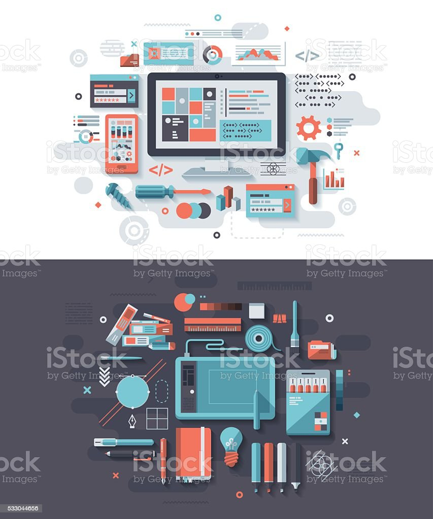 Programming & Graphic Design Concept vector art illustration