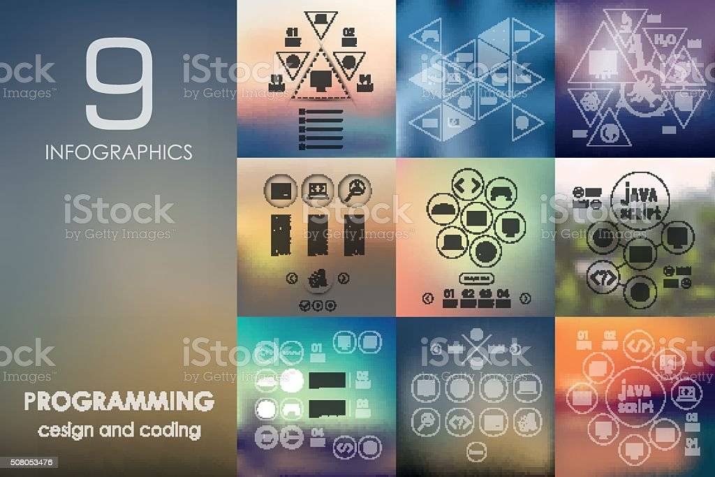 programming infographic with unfocused background vector art illustration