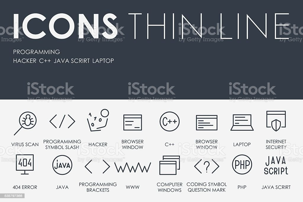 Programming Thin Line Icons vector art illustration