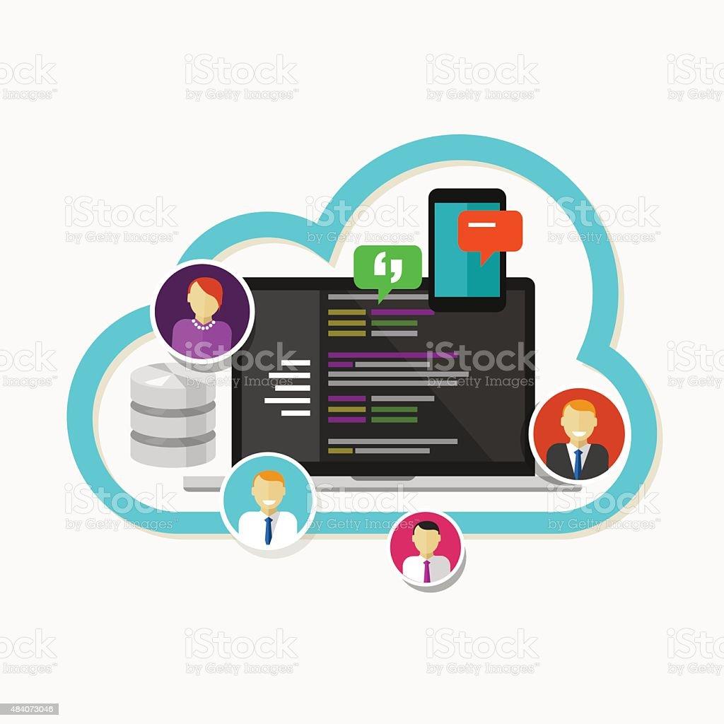 programming web development team collaboration  git hub vector art illustration