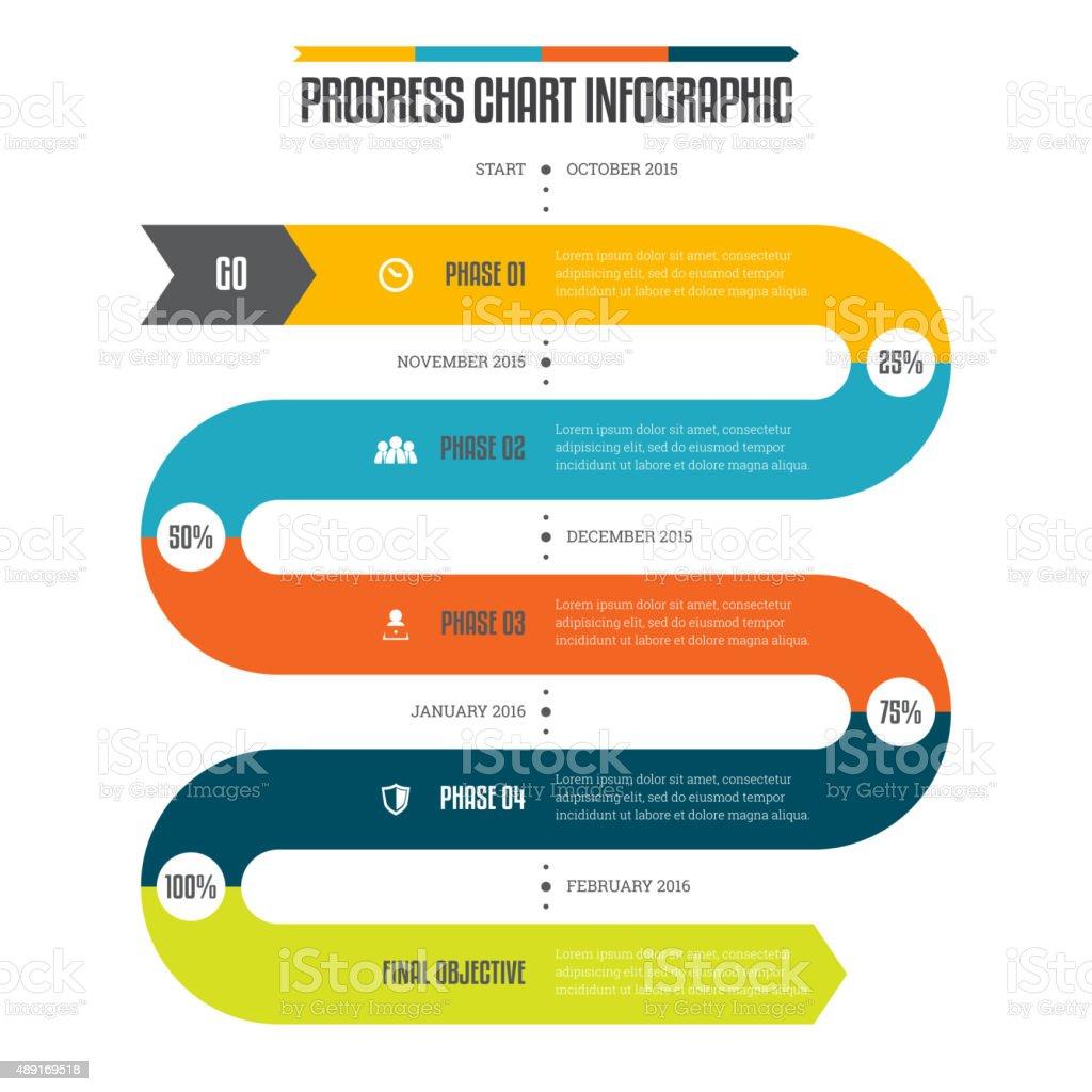 Progress Chart Infographic vector art illustration