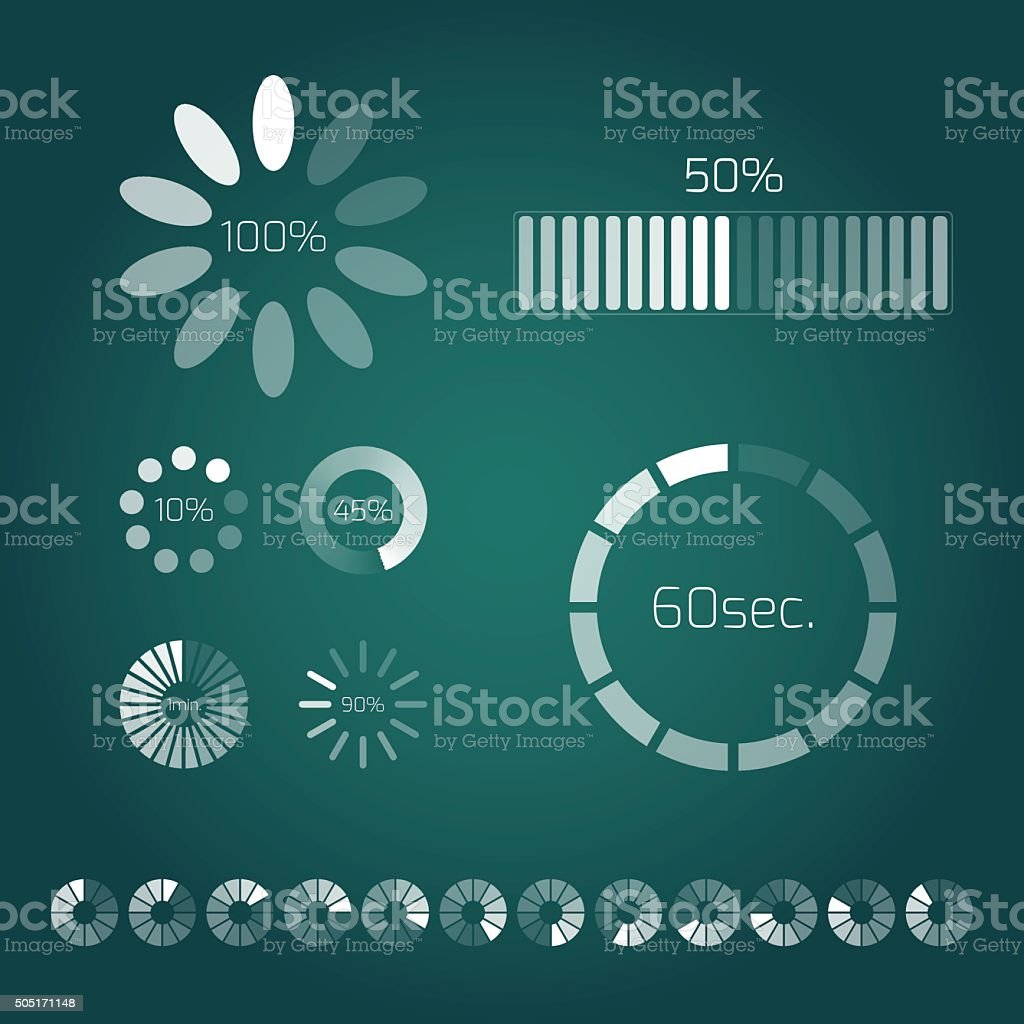 Progress loading bar. Set of indicators. Download progress, interface upload vector art illustration