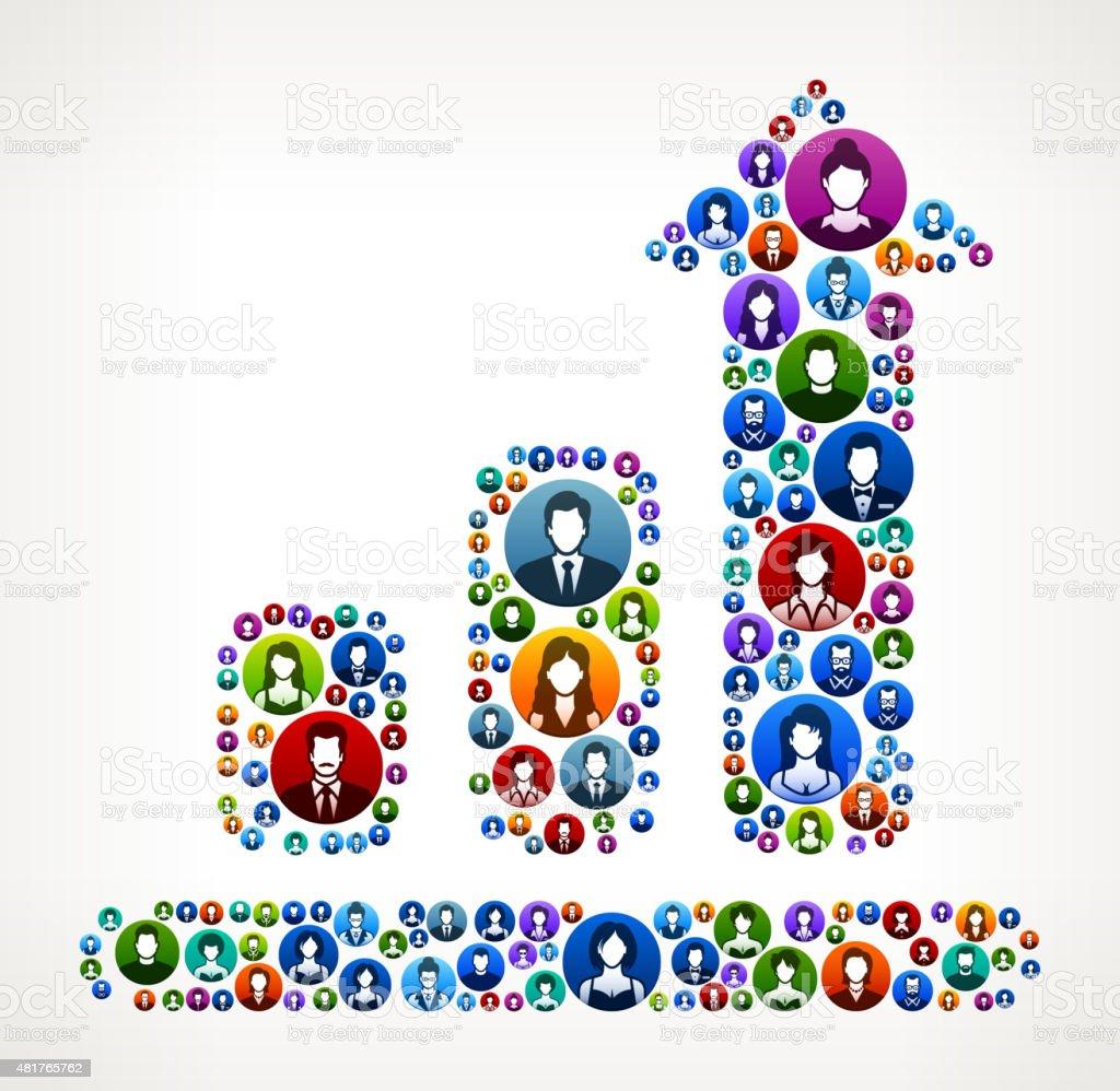 Progresschart People Faces Community and Communication Pattern. vector art illustration