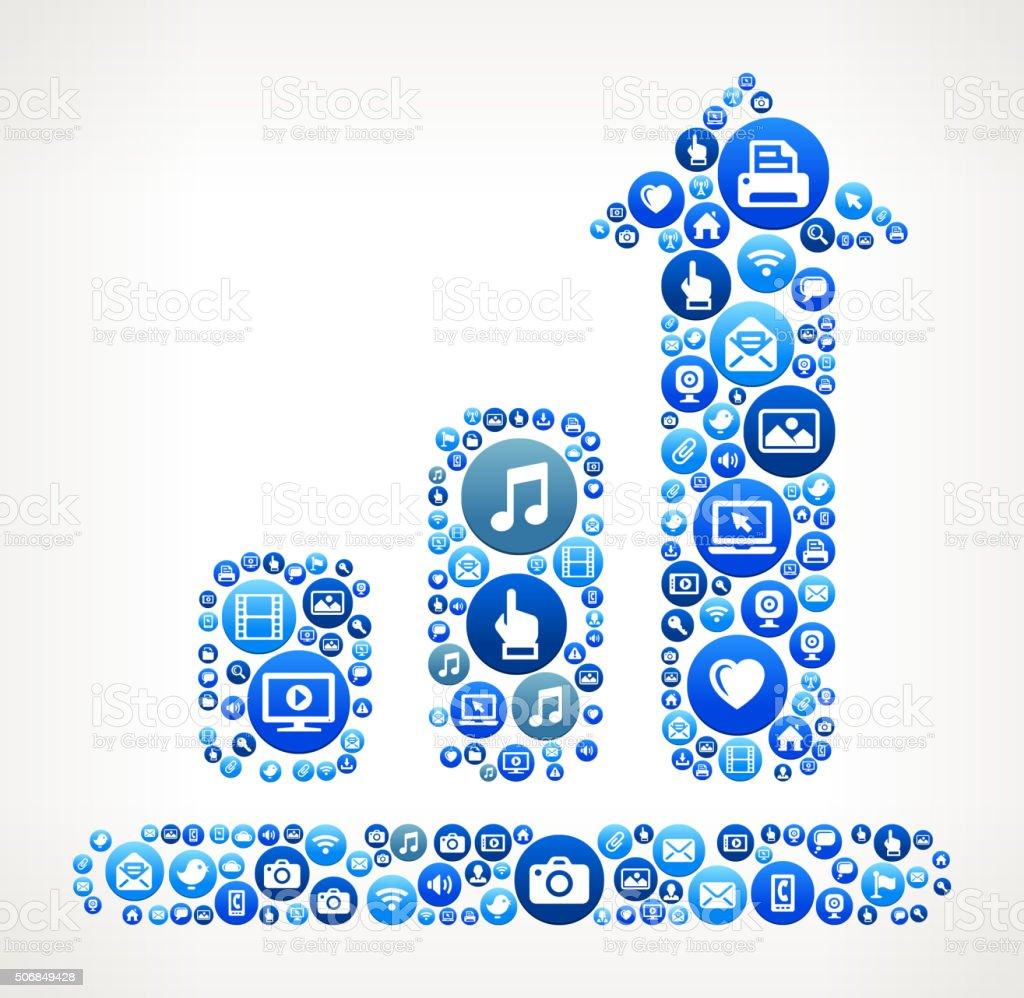 Progresschart Technology Internet and Media Blue Button Pattern vector art illustration
