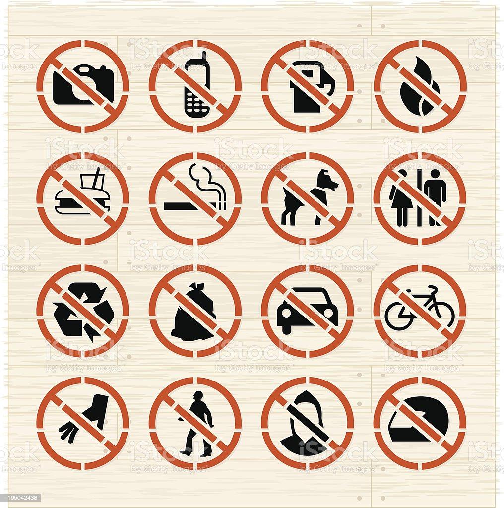 Prohibited Icons on Ash vector art illustration
