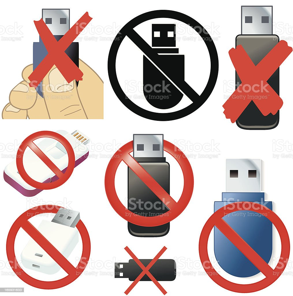Prohibited removable media icons royalty-free stock vector art