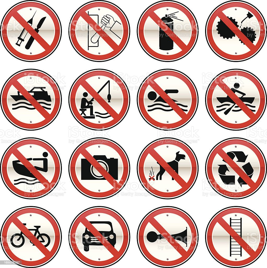 Prohibited Signs Set 2 vector art illustration