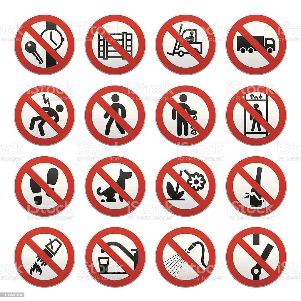 Prohibited Signs-set royalty-free stock vector art