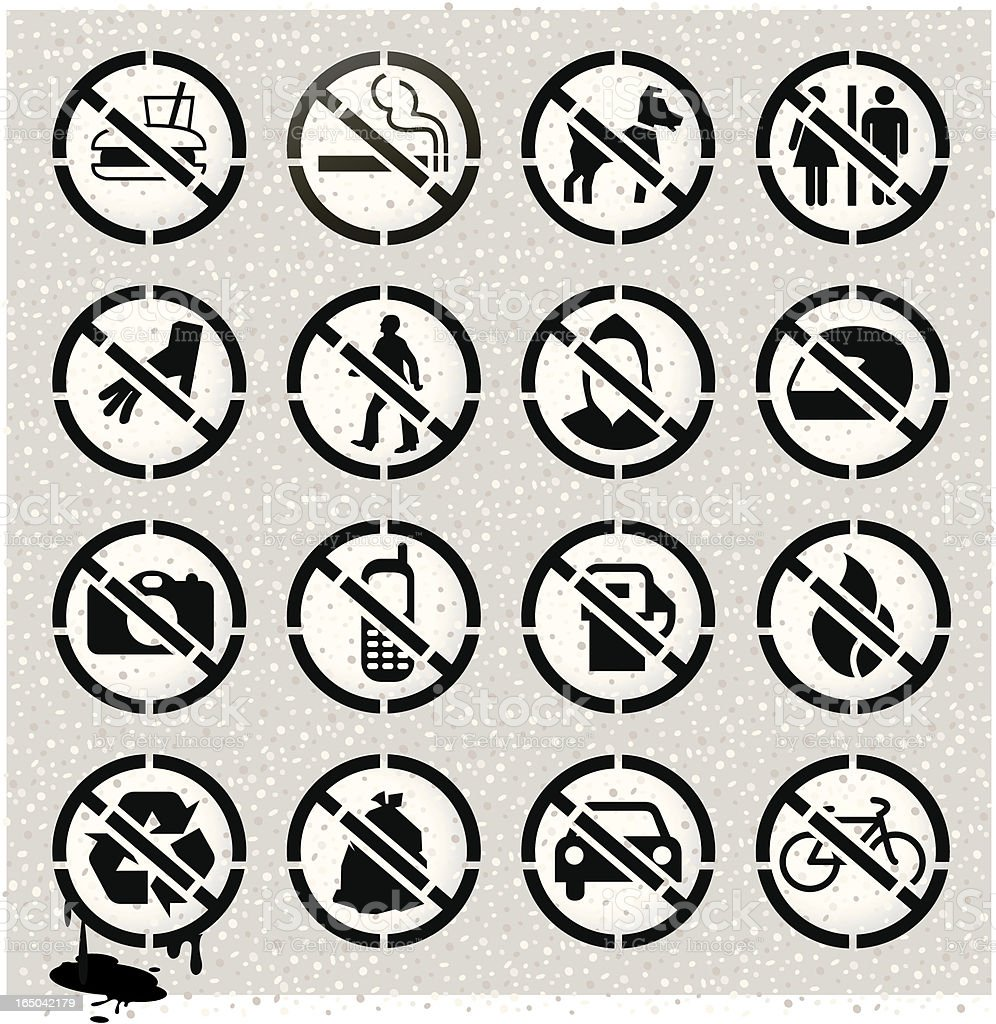 Prohibited Stencils on Concrete royalty-free stock vector art