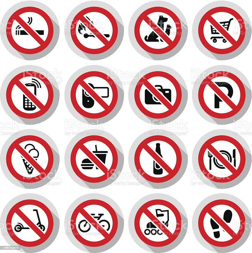 Prohibited symbols set vector art illustration