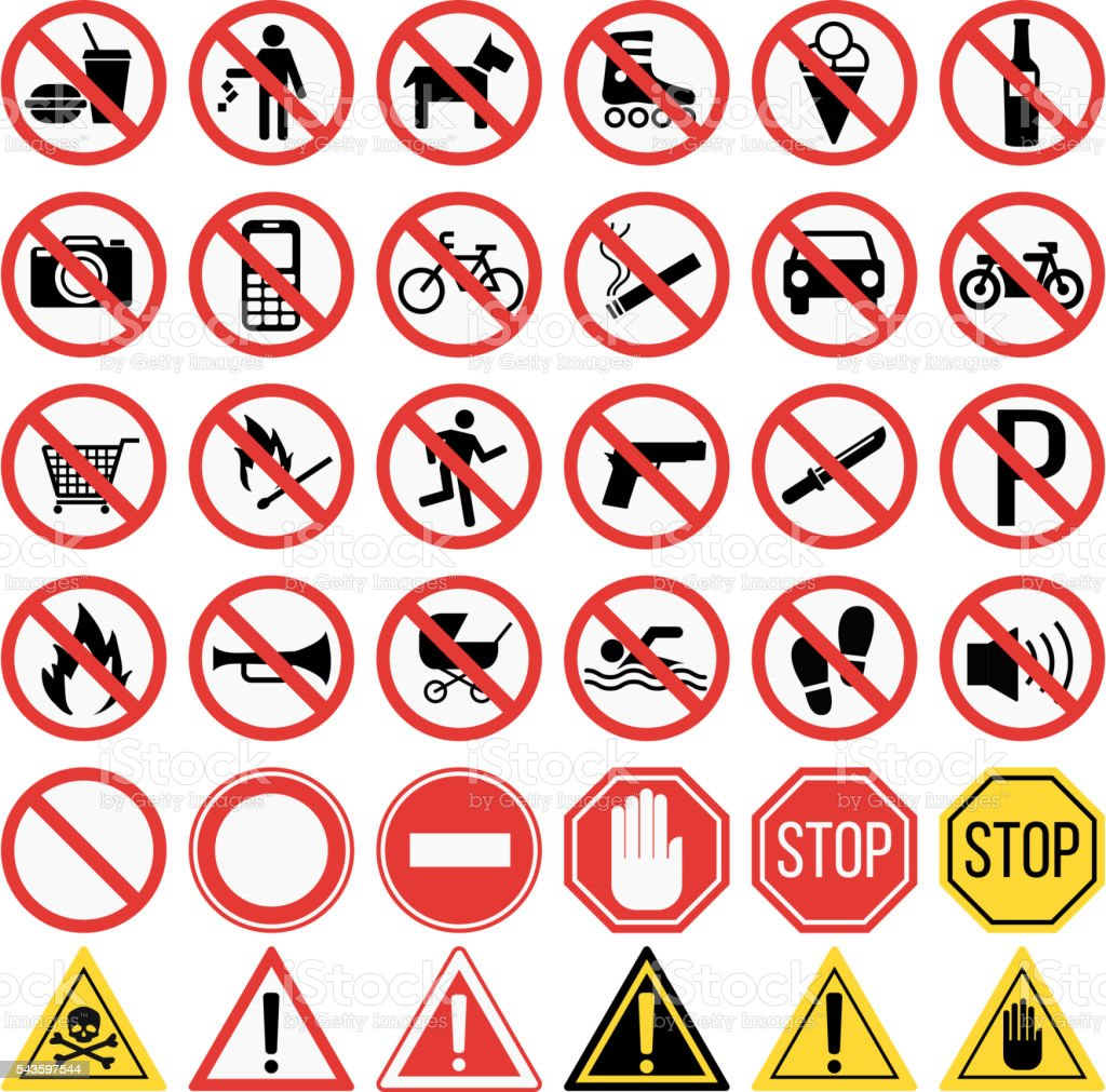 prohibiting signs set vector illustration vector art illustration