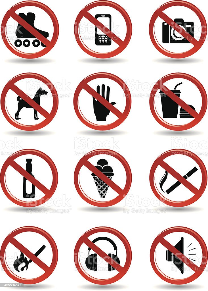 Prohibiting signs vector royalty-free stock vector art