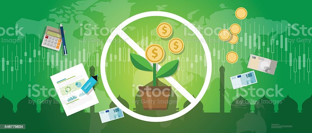 prohibition of riba or compound interest in Islamic banking money vector art illustration