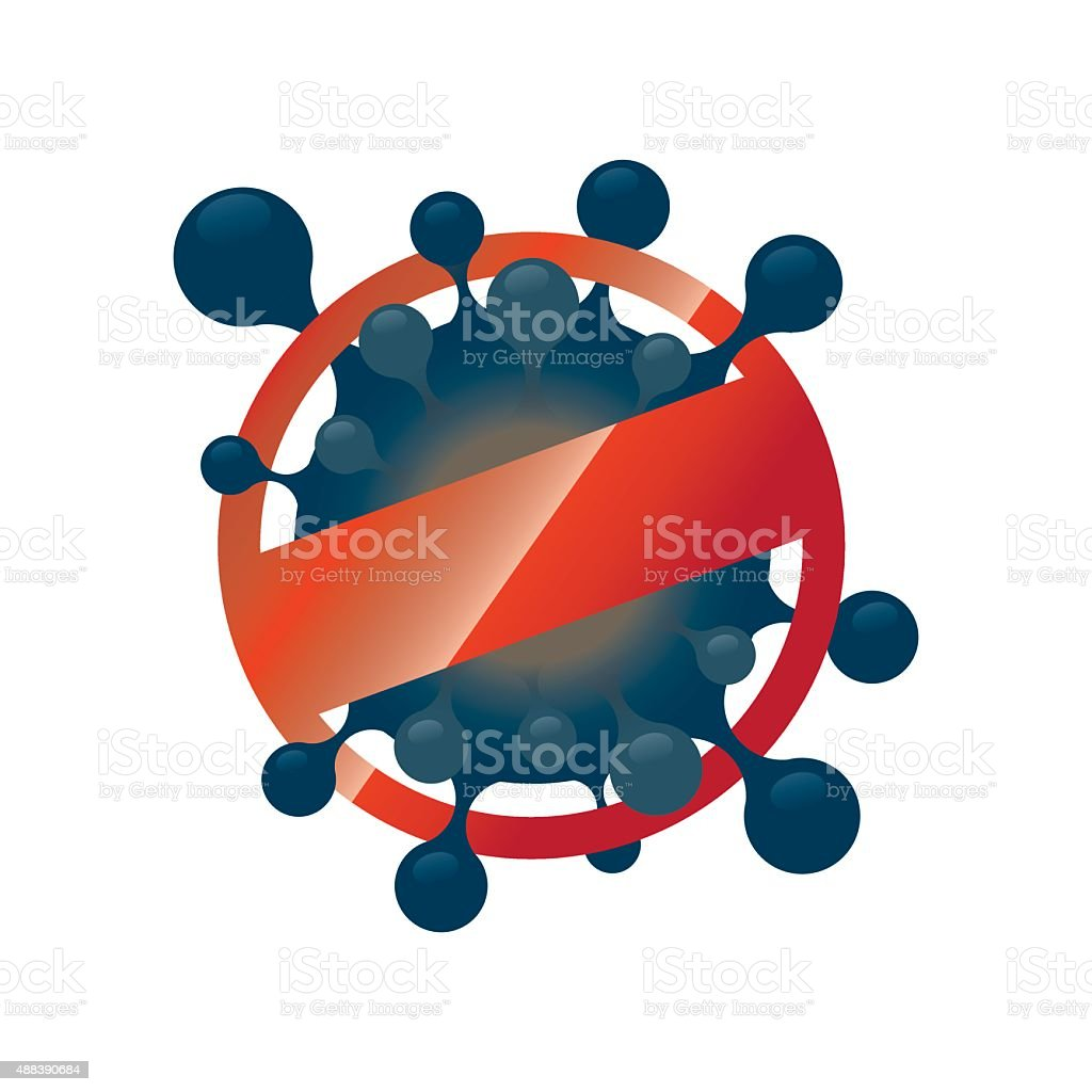 Prohibition Sign for Stop Virus vector art illustration