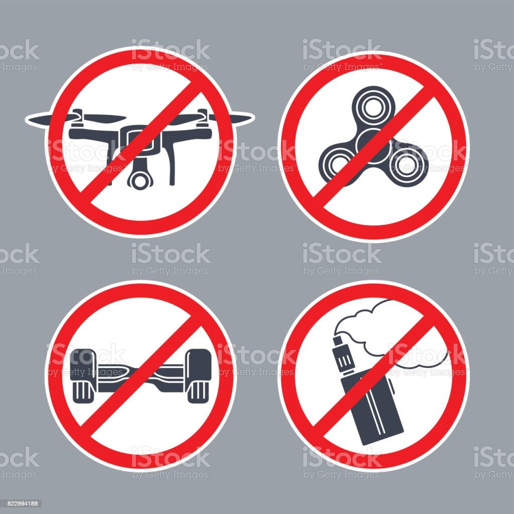 Hoverboard Plans Prohibition Sign No Hoverboard Inside Of Round Vector Flat Simple