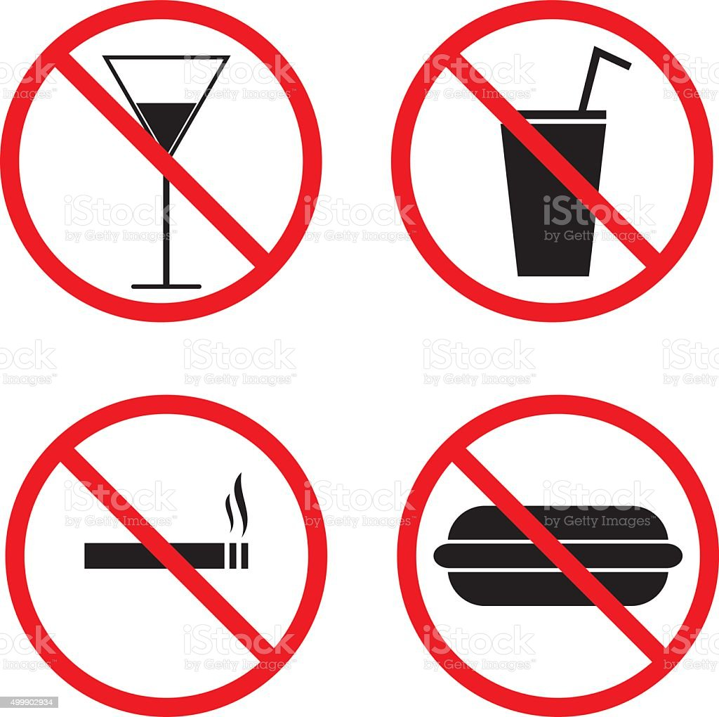 Prohibition Signs for Smoking, Alcohol, Eating and Drinking vector art illustration