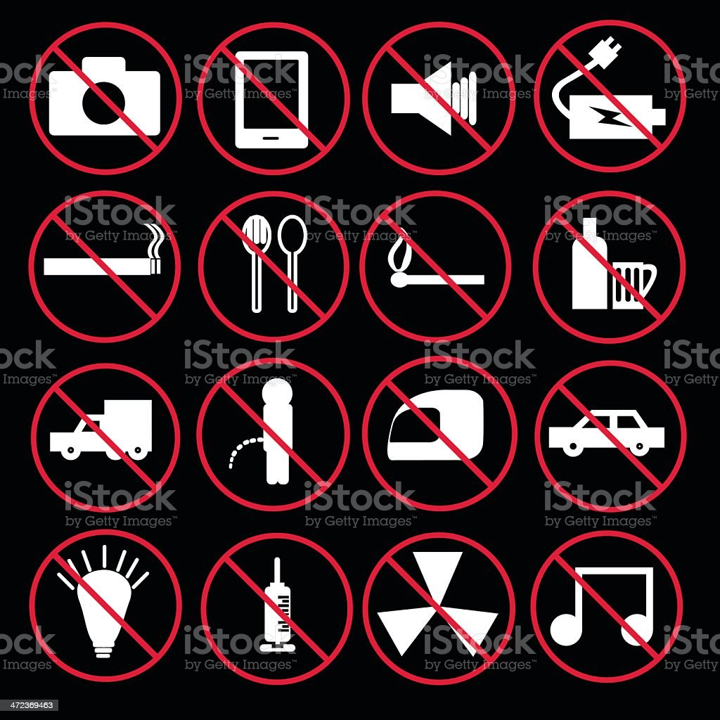 Prohibition signs set royalty-free stock vector art