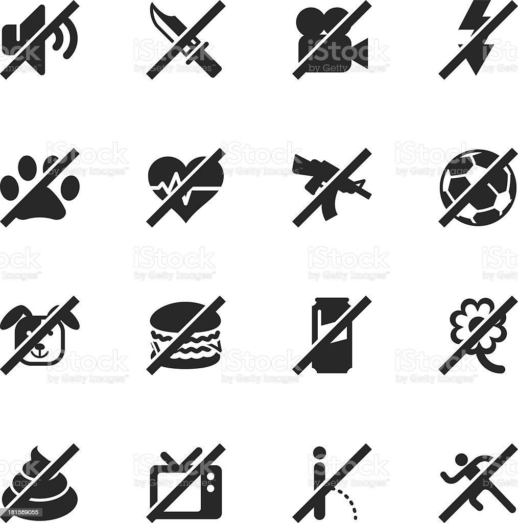 Prohibitions Silhouette Icons Set 2 royalty-free stock vector art