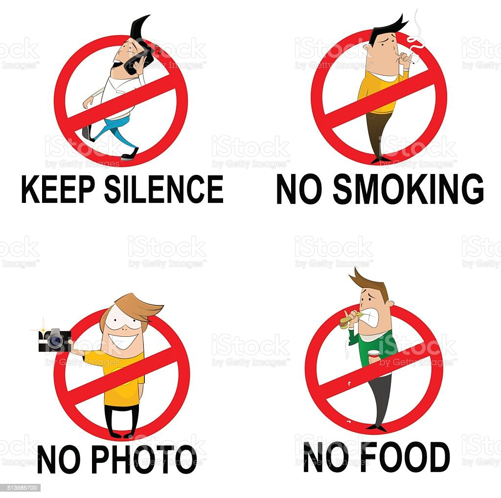 Prohibitory signs in cartoon style vector art illustration
