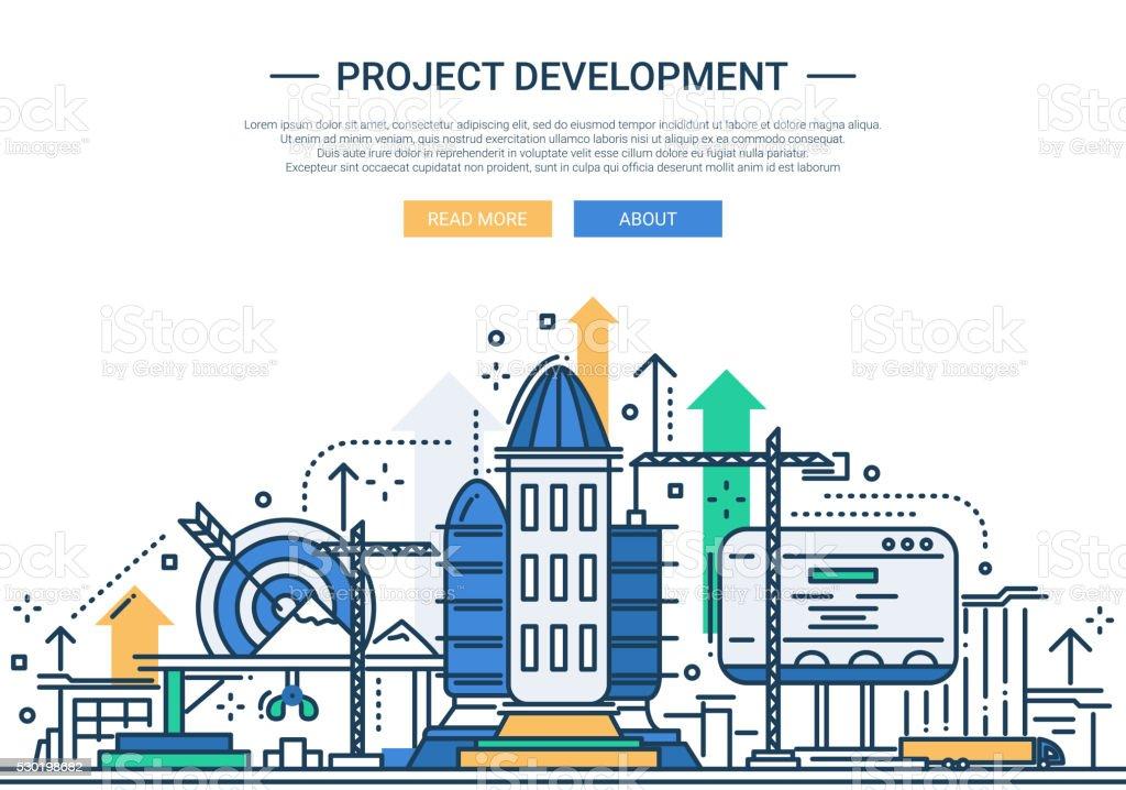 Project Development - line design website banner vector art illustration