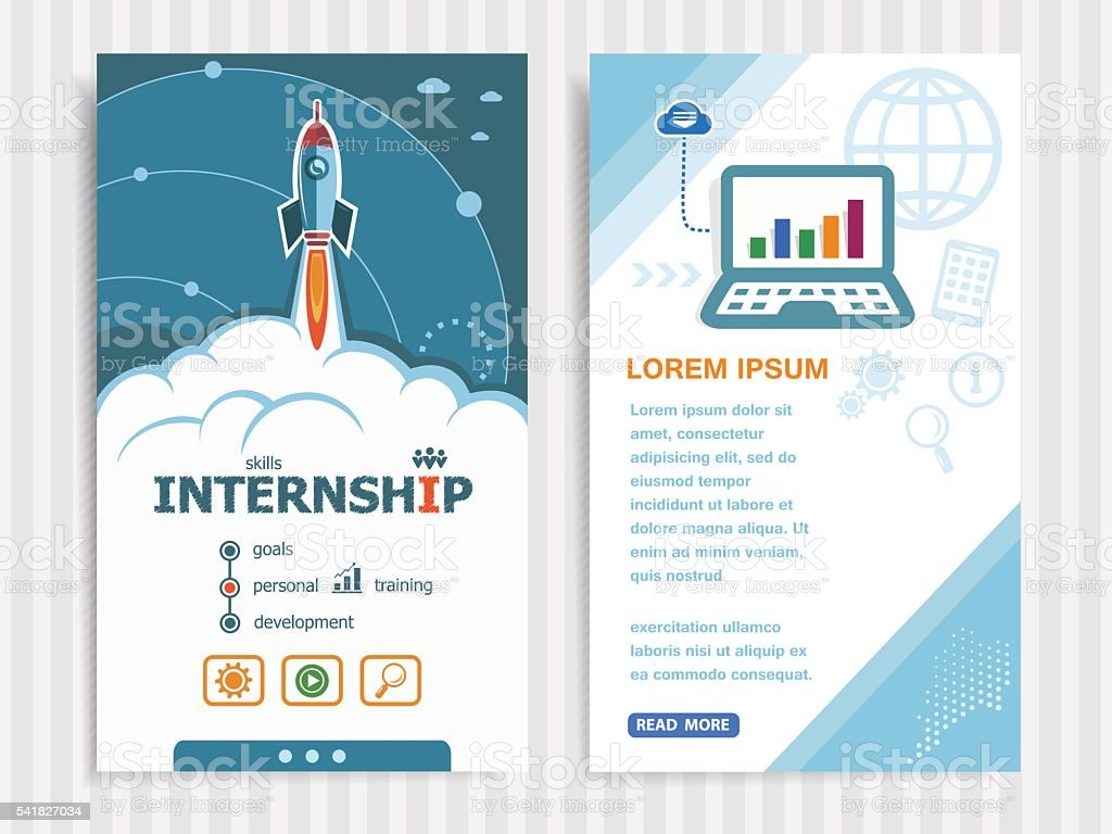 Project Internship concepts and Set of Banners. vector art illustration