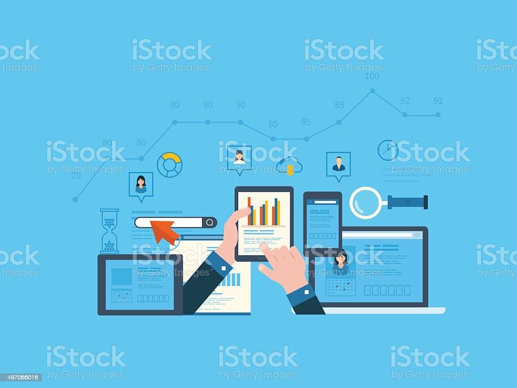 Project management and application development concept vector art illustration
