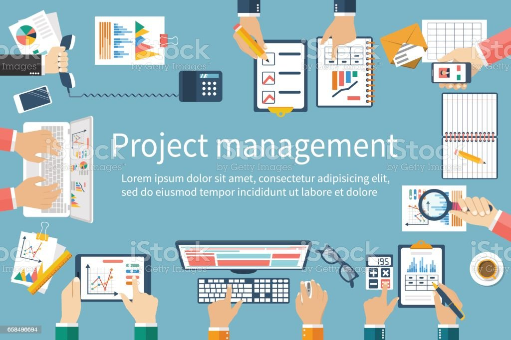 Project management concept. Business team work on projects. Brainstorming. vector art illustration