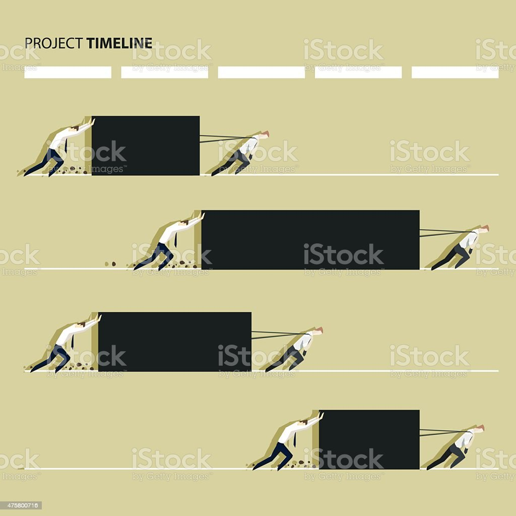 Project production time line concept, manager pulling a heavy load vector art illustration