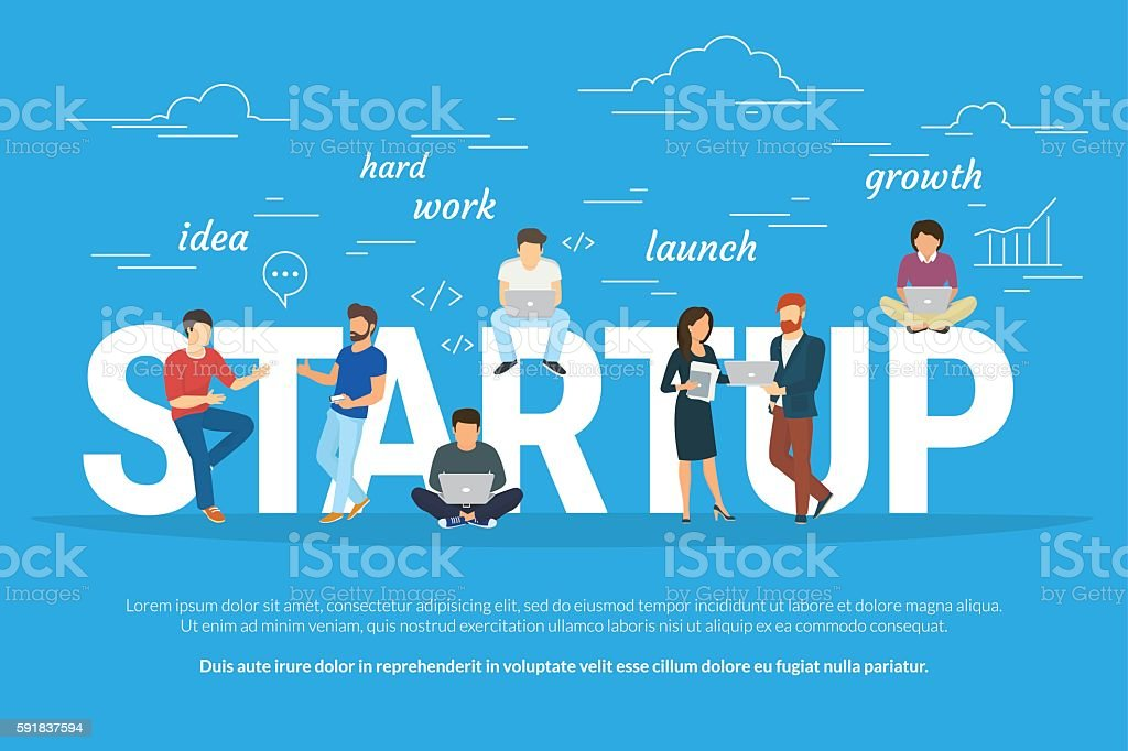 Project startup concept illustration of business people working together as vector art illustration