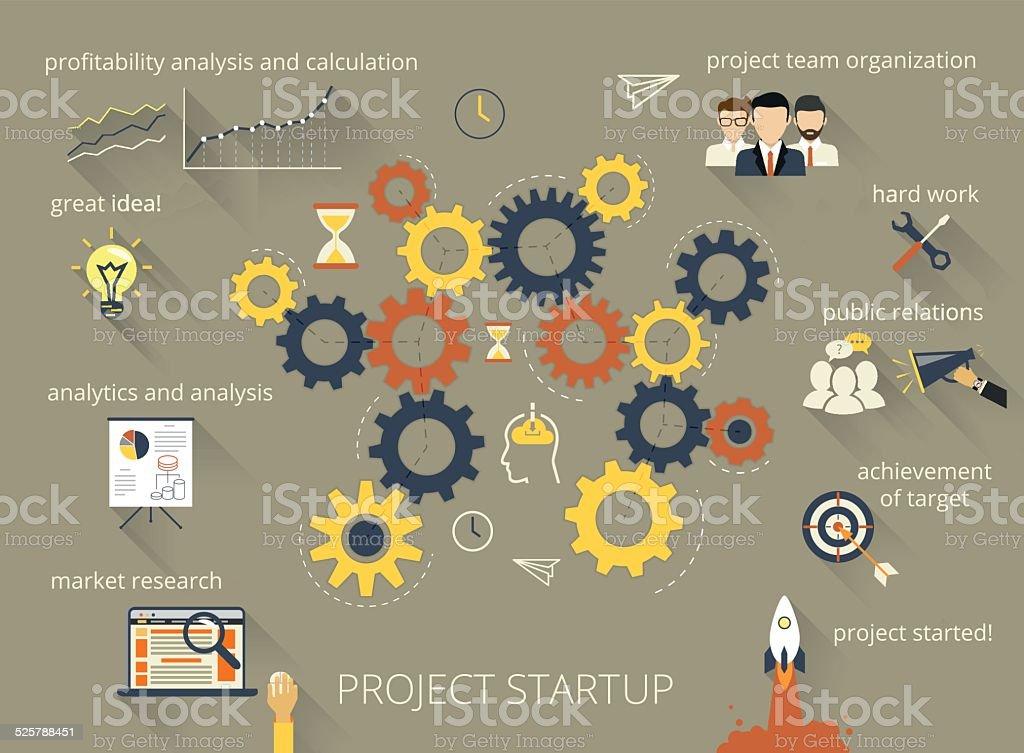 Project startup process vector art illustration