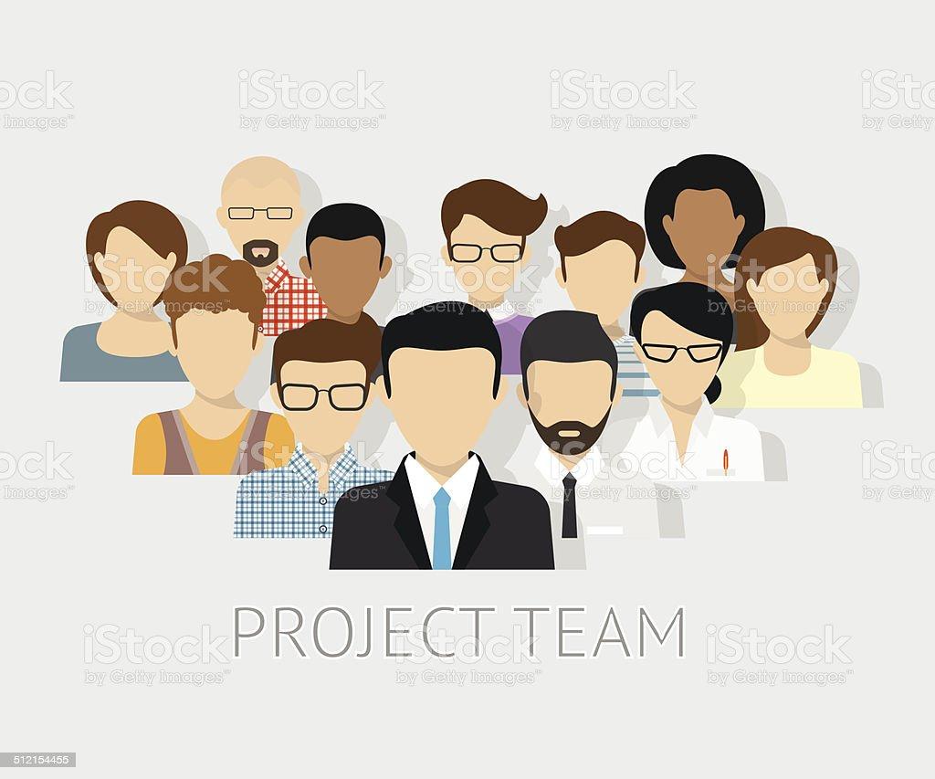 Project team avatars vector art illustration